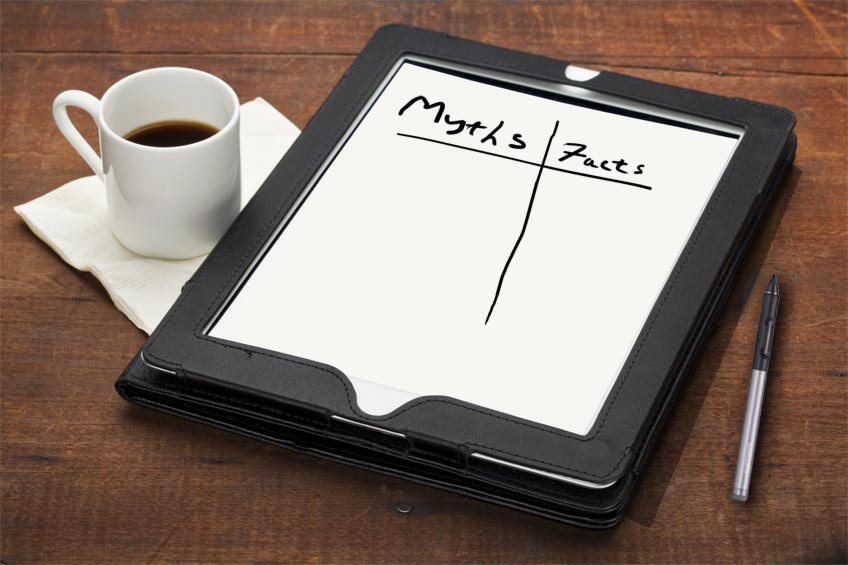 Tablet with a myths and facts comparison table