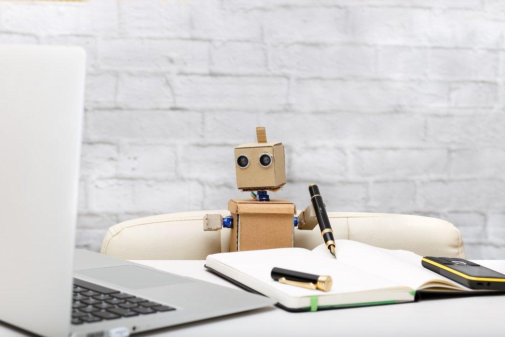 Small robot at desk