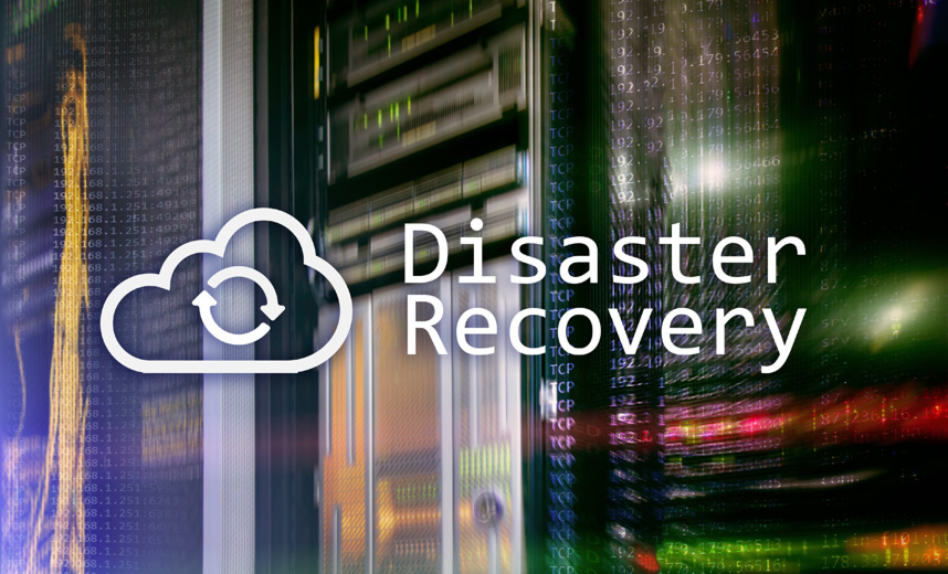 Server with the words 'disaster recovery' next to a cloud icon